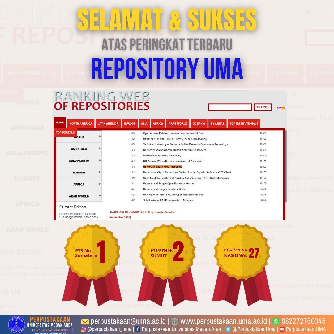 Selamat dan Sukses!! Ranking Repository #UMA versi Webometrics naik di periode September 2020.  Selengkapnya: https://t.co/K67griAhQv  Helpdesk: https://t.co/WS69Xqw9i9  #KampusUMA #PTSSehat #KampusTerbaik #UMASehat #KampusBestari #Perpustakaan #Repository #dirUMAhaja https://t.co/Ig2wg1XwQm
