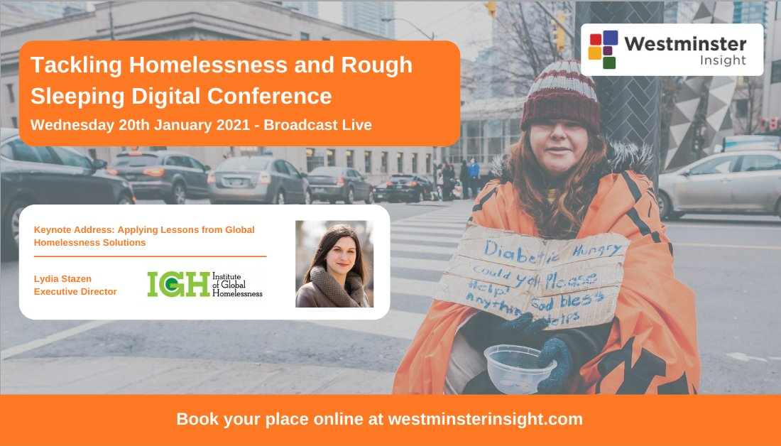 Executive Director @lydiastazen @IGHomelessness will look at what global lessons can be applied to the UK homelessness context in her keynote at our #TacklingHomelessness Conference. Live Broadcast | 20th Jan 2021 👉 bit.ly/3o9dJoD #homelessness #roughsleeping