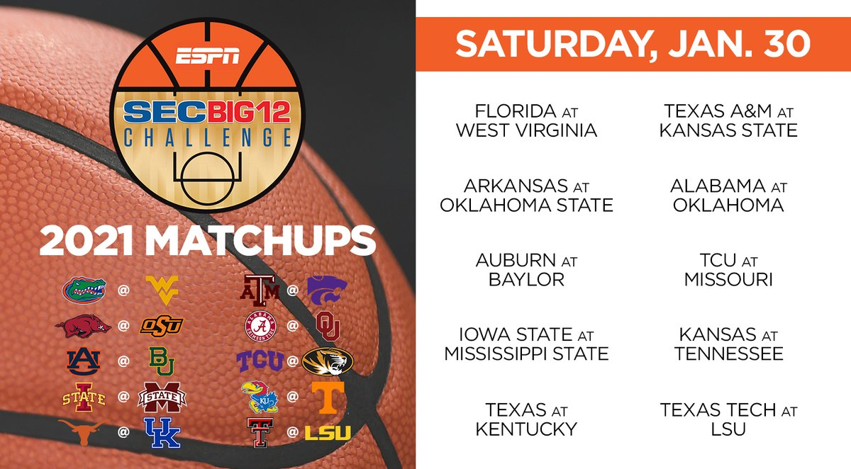 Matchups for the 2021 SEC/Big 12 Challenge are set!