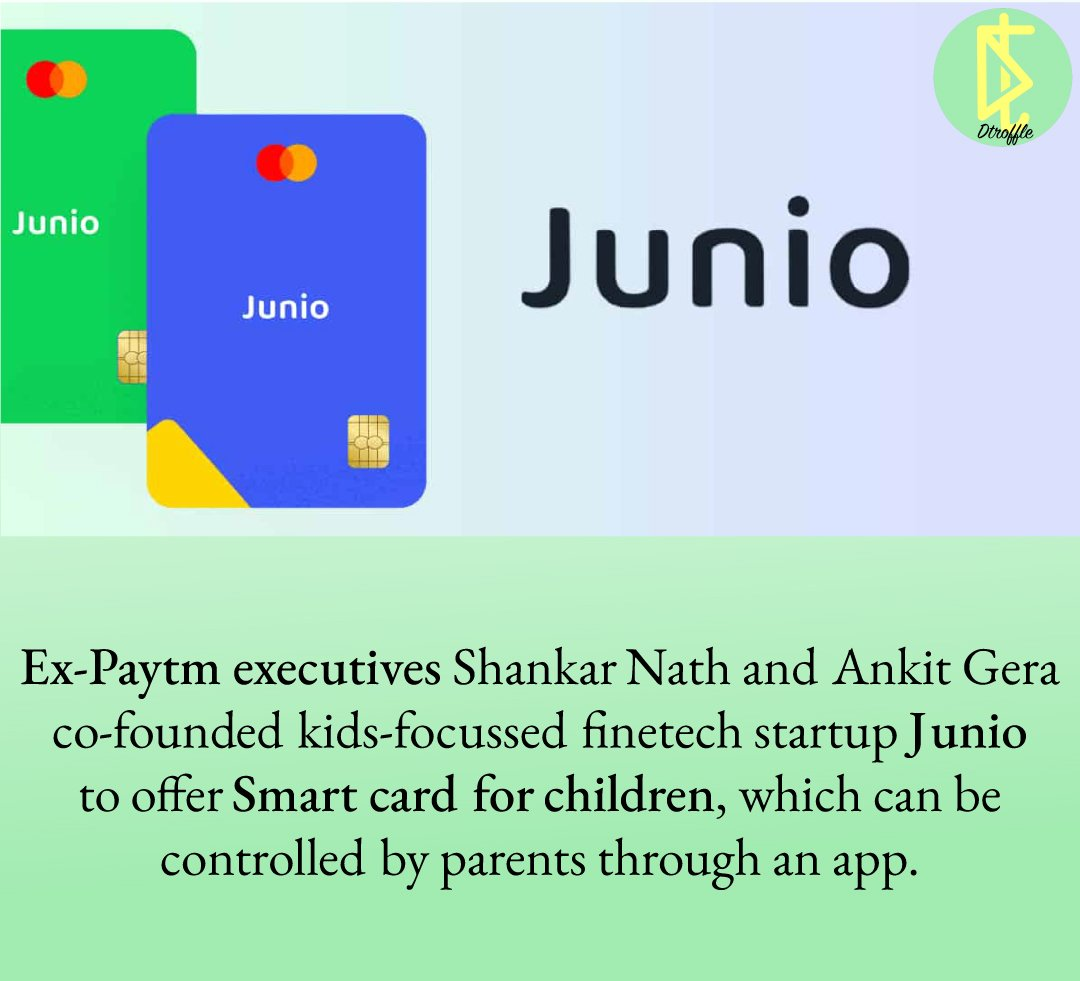 Time has changed so much as a kid we didn't hear about pocket money but today .@ankgera .@_ShankarNath has brought the smart & safest way for our children to manage their expenses. All the best & congrats. #tech #Junio #Junior #kidzee #Paytm #dtroffle #visa #MasterCard https://t.co/jxNWVpJd3N