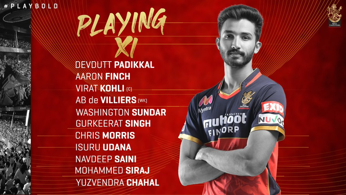 KKR have won the toss and elected to bat first.   Just one change to our XI. Mohammed Siraj comes in for Shahbaz Ahmed.   #PlayBold #IPL2020 #Dream11IPL #WeAreChallengers #KKRvRCB https://t.co/Fh7Xgexa1F