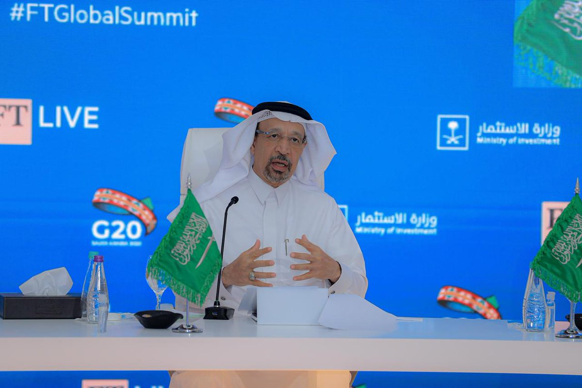 """""""A sense of safety and security for investors is important for governments to ensure. Making sure regulations are predictable, transparent, fair, and an honest conversation takes place with the private sector.""""  H.E. @Khalid_AlFalih explores enabling #FDI at #GlobalFTSummit #G20 https://t.co/pNSJu8YmkH"""