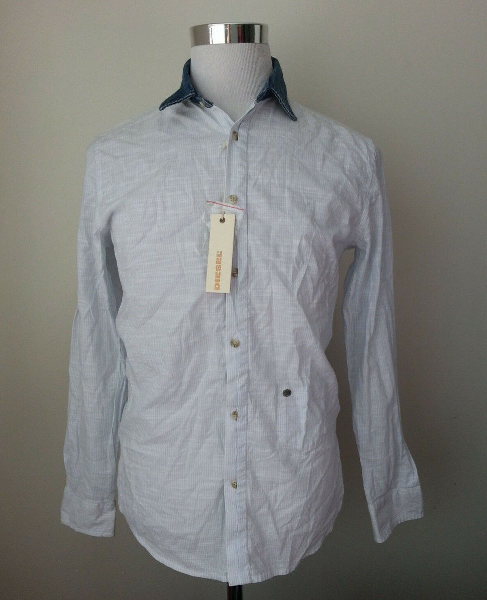 Sale $79.95 https://t.co/SU1hBeD6rU #DIESEL men's size S slim #casual #shirt blue with https://t.co/uMLjp2Iijb
