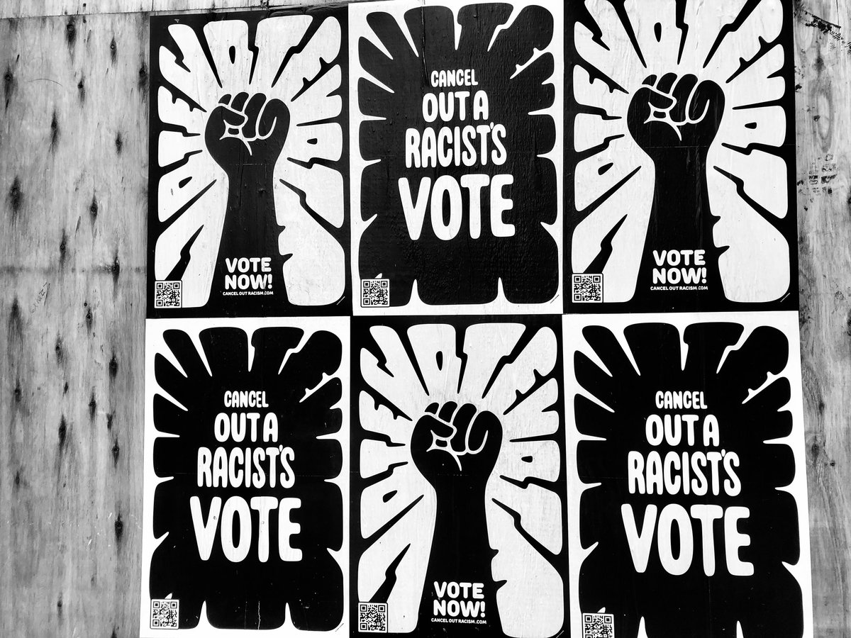 """""""Cancel out a racist's vote,"""" in #Detroit but """"Keep Ameraca Great!"""" in one of the city's suburban towns. #Election2020"""