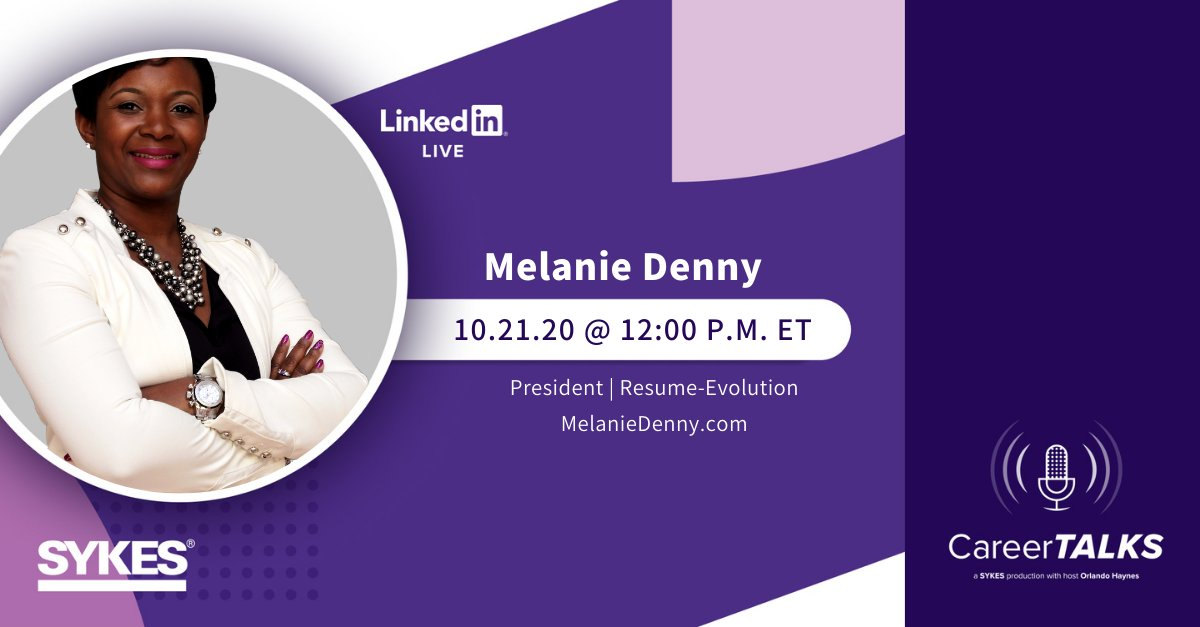 Today on #CareerTALKS: guest Melanie Denny – an award-winning #resume expert and career #empowerment speaker – meets with SYKES Talent Acquisition Manager and CareerTALKS Host Orlando Haynes on how to be empowered during a #jobsearch.  Today at noon: https://t.co/T1Vh2vxYOH https://t.co/eeF2oSDDgg