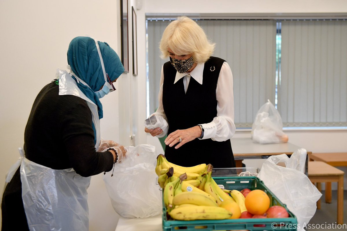 The Duchess took some sweet treats along during her visit - brownies! They are added to the meals being prepared today for delivery to vulnerable members who cannot come to the centre for lunch.
