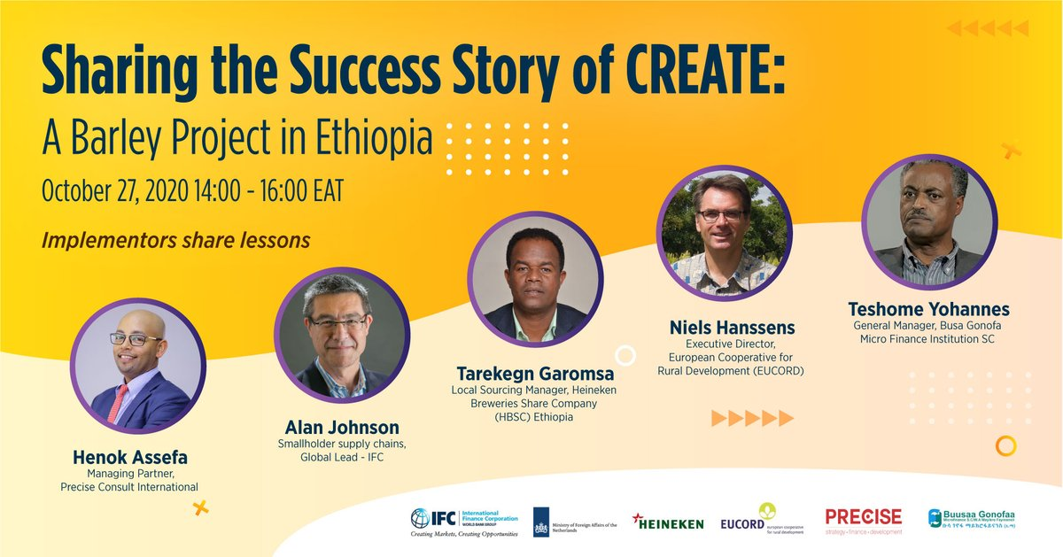 How can companies implement successful local #barley sourcing projects in #Ethiopia? Join @IFC_org and partners to hear lessons learned from growing Ethiopia's barley supply chain. Register at https://t.co/WIp3PCrqIh @IFC_org @eucordbxl @PreciseConsult @Heineken https://t.co/O0tDUkHtAP