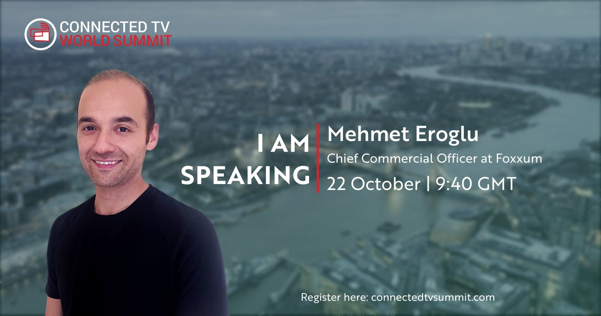 Mehmet Eroglu, CCO of Foxxum, will be speaking at the #CTVSummit  2020 tomorrow at 9.40am GMT, register here: https://t.co/Fen9sOCQpk to #stream for free! Speak to us on Twitter for a live Q&A. #SmartTV https://t.co/iDl9ZDBTgY