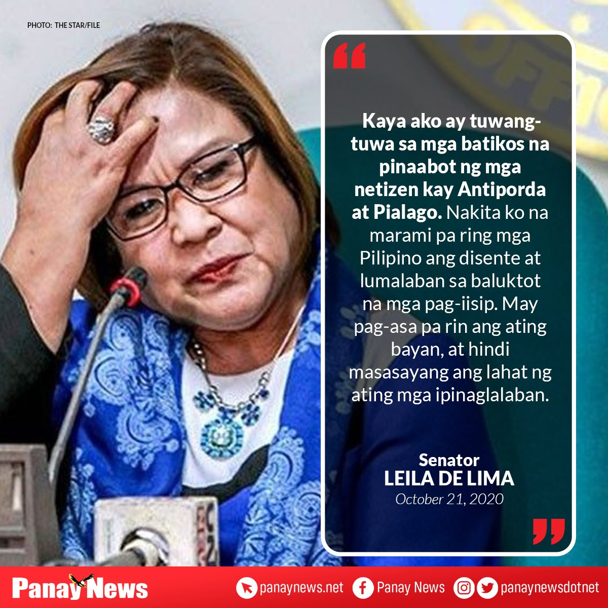 Here's the reaction of Sen. Leila de Lima on the controversial statements made by Environment Usec. Benny Antiporda and MMDA spokesperson Celine Pialago last week.  #PanayNews https://t.co/6tPfRgJQTX