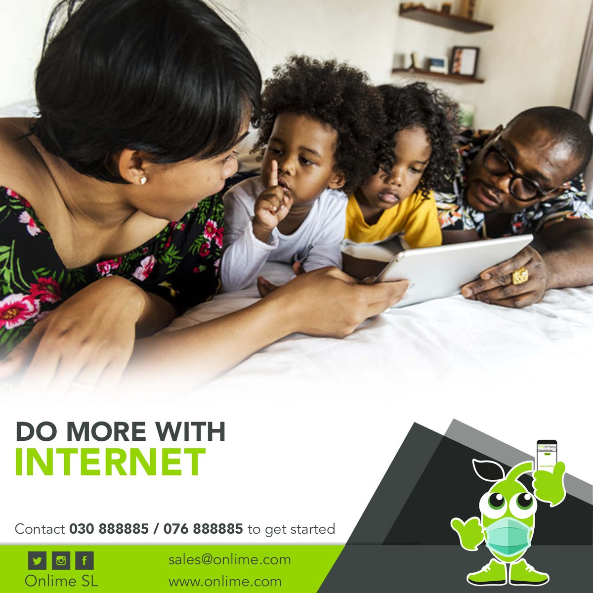Do more with #Internet and bring loved ones closer💏. Switch to #OnlimeInternet today and feel the difference. Call 076 888885 / 030 888885 or email sales@onlime.sl to get started. #SierraLeone #Freetown #SaloneTwitter https://t.co/TaCAqIa8w2