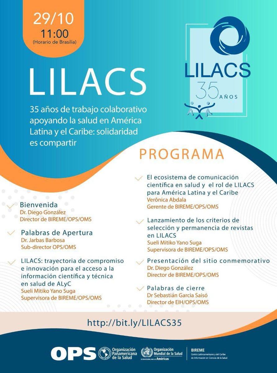 Salven la fecha y únanse a los expertos para conocer el impacto del trabajo colaborativo de #LILACS para garantizar el acceso a la información técnica y científica en salud desde hace 35 años. Será un gusto escuchar a mi amigo el Dr. Diego Gonzalez. Enhorabuena @bireme  @opsoms https://t.co/D4G4rFDzBj