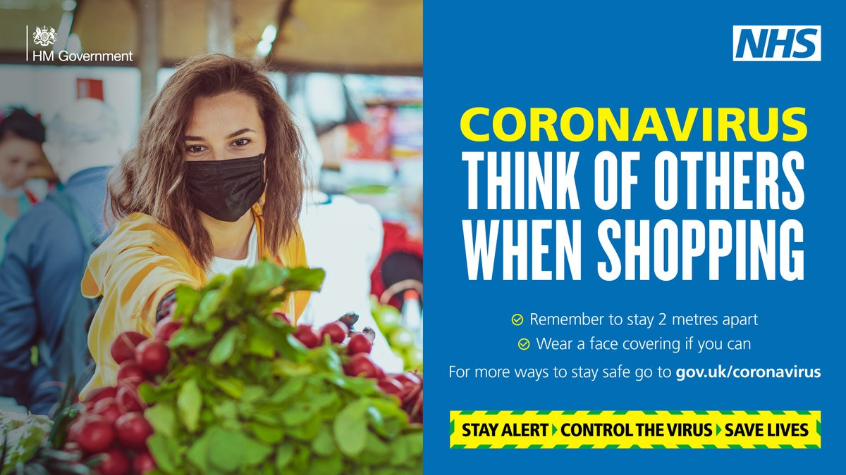 😷 Think of others when shopping. Wear your face covering. #StayAlertSaveLives https://t.co/wVCKKF87ta