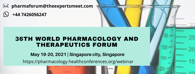 Meet experts at 36th World Pharmacology and Therapeutics Forum scheduled during May 19-20,2021 in Singapore  For more info: https://t.co/WPfDUJQT7R Contact: pharmaforum@theexpertsmeet.com Whatsapp: +447426056247 #Pharmaceuticals #drug @Pharmadept @AlexionPharma @JanssenUS @ASPET https://t.co/O3DQrs0zCj