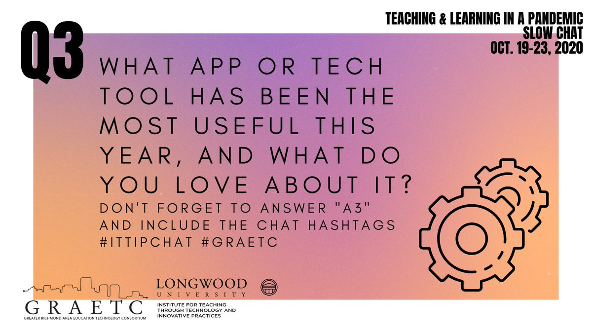 Good morning, #Teachers! Join us for Q3:  As our classrooms have forcibly become more digital this year, we have had to rely on tech tools more than ever. What app or tech tool has been the most useful this year, and what do you love about it? #ITTIPChat #GRAETC https://t.co/N5bnp9bAaN
