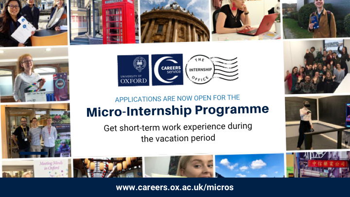 5️⃣ DAYS LEFT TO APPLY FOR MICRO-INTERNSHIPS!  We have 245+ 2 to 5-day remote internships on offer this term. All placements are exclusive to @UniofOxford students and take place in Weeks 9 and 10 of Michaelmas.  Deadline: Mon 26 October, midday.  https://t.co/SlyHubTZlM https://t.co/o5STthPu6y