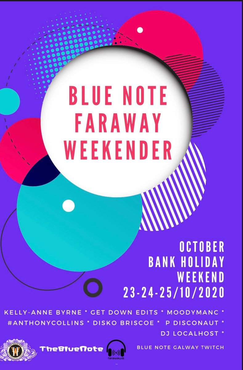 This Bank Holiday Weekend we can all be together in electric dreams with The Blue @NoteGalway Faraway Weekender 🥳💙🎶 A full schedule of the best DJs live streaming over an interactive twitch chat room! #Galway #Weekend #Plans   Tickets: https://t.co/twp25gFfLF https://t.co/t01hWjQsHW