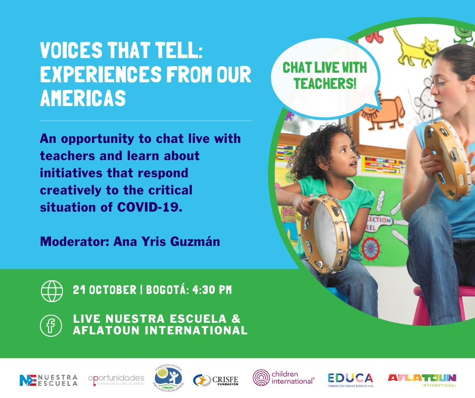 🔊 Do you want to hear the voices of #teachers on how to creatively respond to the critical situation of the #COVID19 pandemic?   ⏰ Join us today, Oct 21, on  @NuestraEscuela Facebook page to chat live with teachers and learn about their initiatives.   #ChildrenEmpowered #SDG4 https://t.co/d37cFvNvcC