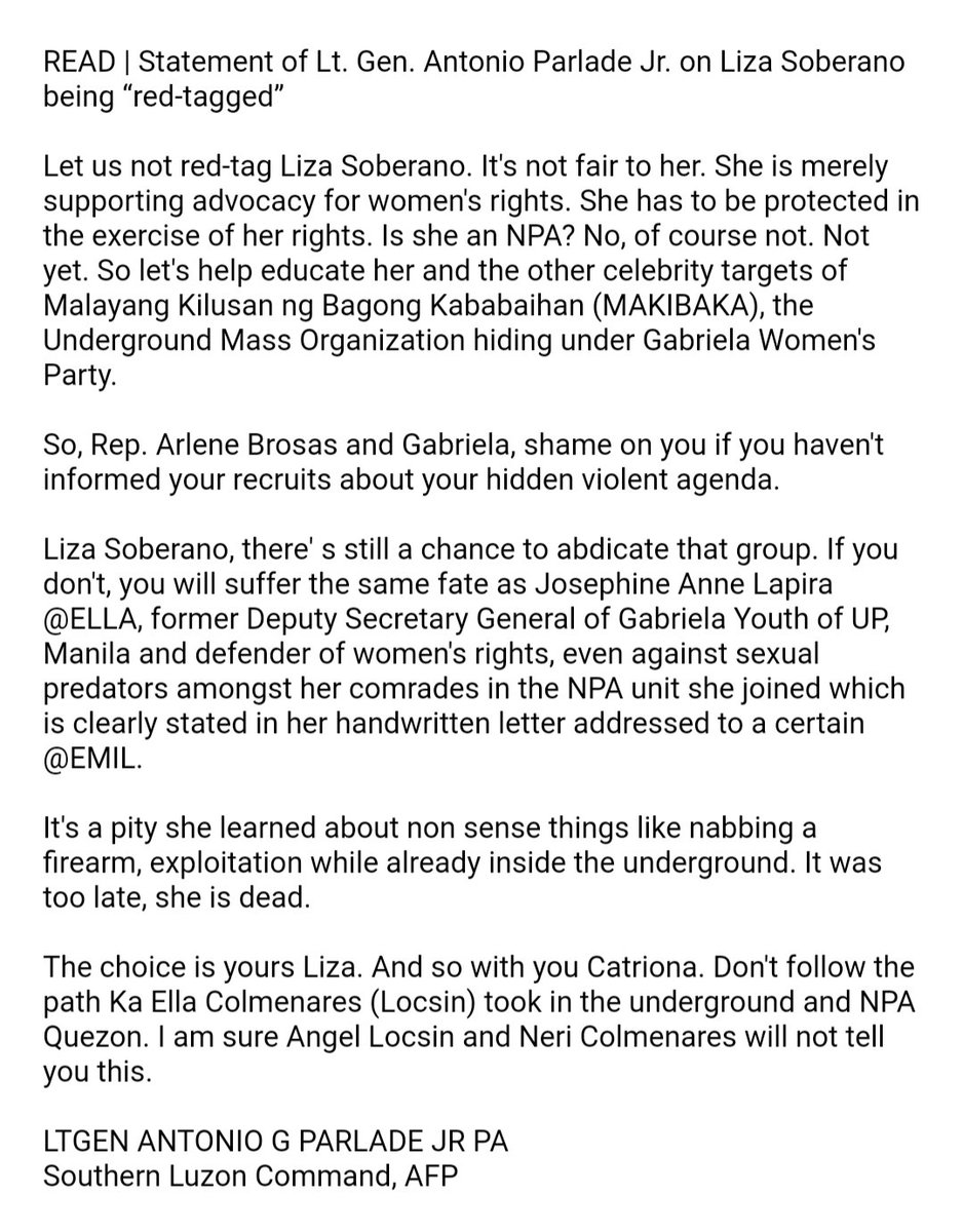 Did an official of an anti-communist task force just 'red tag' actress Liza Soberano? | via @MB_mrtnsdngdng https://t.co/cQPSl1CjNb