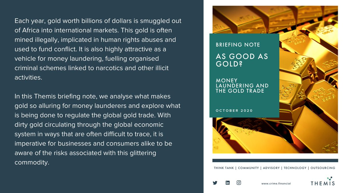 Latest Briefing Note: https://t.co/QLeftl0AHT  #financialcrime #GOLD #moneylaundering #africa #goldtrade #bribery #corruption #kyc #illicitflows #duediligence #riskmanagement #riskintelligence #drugtrafficking #msht #forcedlabour #themis #intelligence #EDD #investigations https://t.co/BtjY377FPP