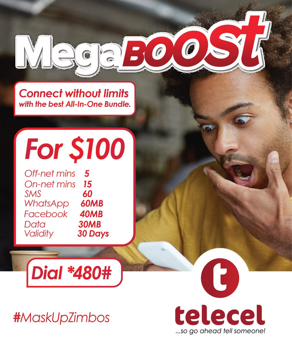 Megaboost your life with your favourite combo package from Telecel!To get dial *480# today.T&C's apply. #megaboost #tellsomeone https://t.co/38QpcHm334