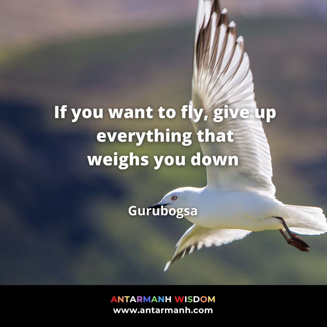 """If you want to fly, give up everything that weighs you down"" - Gurubogsa  #antarmanh #antarmanhwisdom #quotes #motivationalquotes #quoteoftheday #inspirationalquotes https://t.co/ODxVSJvpeZ"