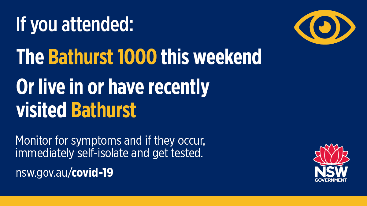 Anyone who attended the Bathurst 1000 motor race on the weekend as well as residents of Bathurst with any symptoms that could signal #COVID19 should get tested as soon as possible after remnants of the COVID-19 virus were detected in raw sewage. Read more: https://t.co/w1AJYDJwZv https://t.co/T7vOFnfnpY