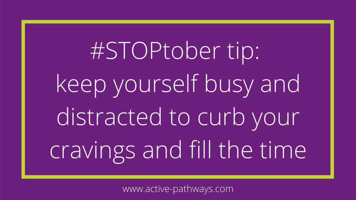 #STOPtober tip 6: keep yourself busy and distracted to curb your cravings and fill the time 🏃 #STOPtober2020 #quitsmoking