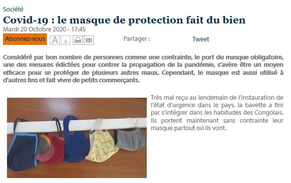 #Covid-19 : le #masque de protection fait du bien https://t.co/hRqDOwMBS5 #Congo #Sape #coronavirus via @AdiacCongo https://t.co/cZncMZ8vSy