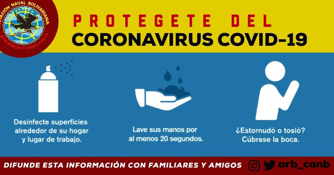 En el @ARB_CANB estamos comprometidos con el Pueblo Venezolano, para evitar que el Coronavirus se propague #QuedateEnCasa @NicolasMaduro @vladimirpadrino @CeballosIchaso @libertad003 @ArmadaFANB @WMSP_2020 https://t.co/Csf0vPb0Ib