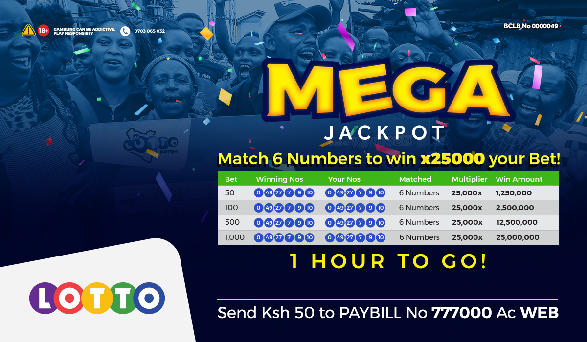Lotto Millions are calling! Match 6 numbers na Sh 50 upate 1.25 Million Jackpot! Match 6 numbers na Sh 1,000 uvuke na 25 Million Mega Jackpot! Draw is in JUST 1 HOUR. Mpesa Sh50-1K to Paybill 777000 AC WEB https://t.co/WGns8KbexL