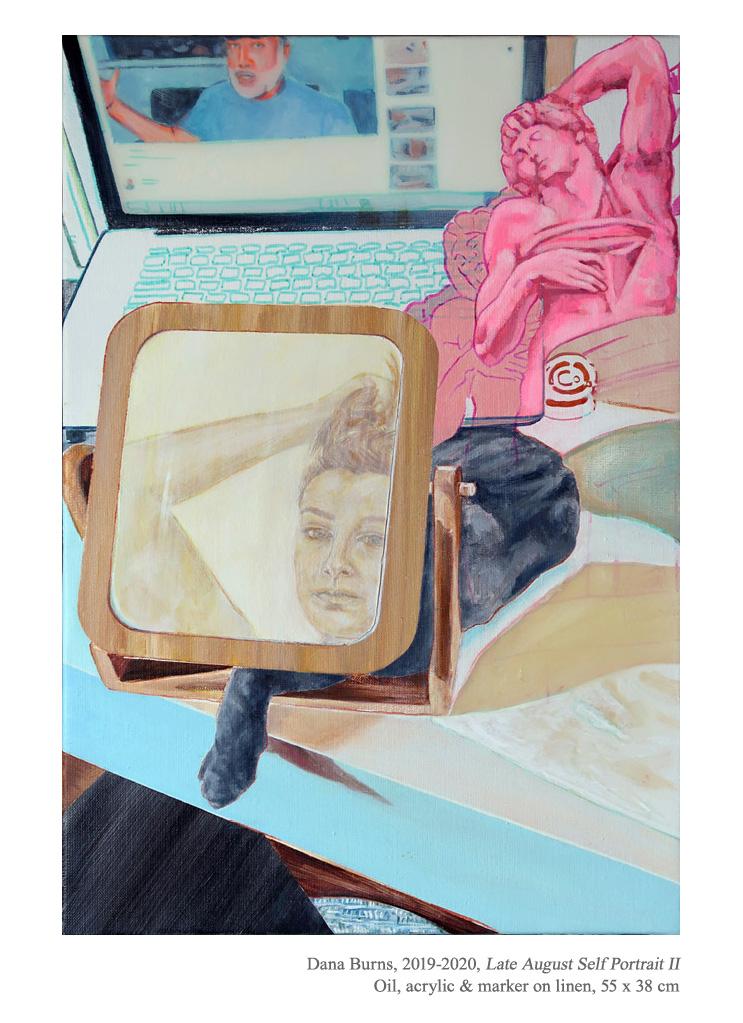 """Late August Self Portrait II"", 2019-2020  Oil, acrylic & marker on linen, 55 x 38 cm - https://t.co/qtAHQBjGB8 ✨  Instagram: @danaburnsart  #DanaBurns #figurativepainting #contemporaryart #contemporarypainting #AmericanArt #portraiture #selfportrait #cat #catpainting @artnet https://t.co/8YNVPPEnQ9"