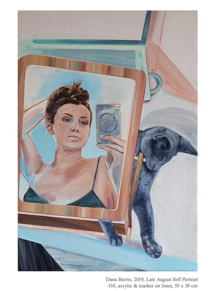 """Late August Self Portrait"", 2019  Oil, acrylic & marker on linen, 55 x 38 cm, 21.5 x 15 in. - https://t.co/qtAHQBjGB8   ✨  Instagram: @danaburnsart  #DanaBurns #figurativepainting #contemporaryart #contemporarypainting #AmericanArt #portraiture #selfportrait #cat #catpainting https://t.co/MWJ1FqMPjh"