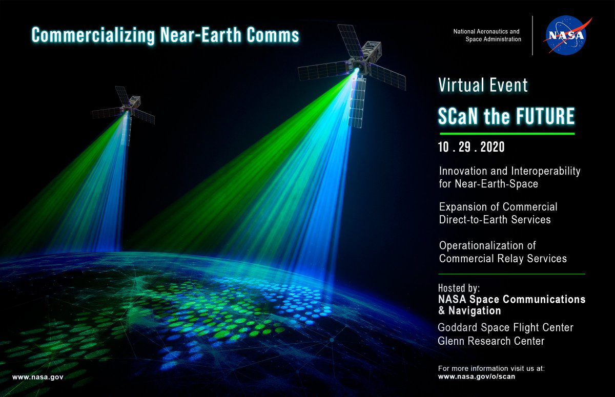 SCaN the Future is a virtual event scheduled for October 29 explain how our transition from provider to customer will help bring every consumer's seamless, smartphone-like experience to all communications users in near-Earth space. More: go.nasa.gov/2HjQAz6