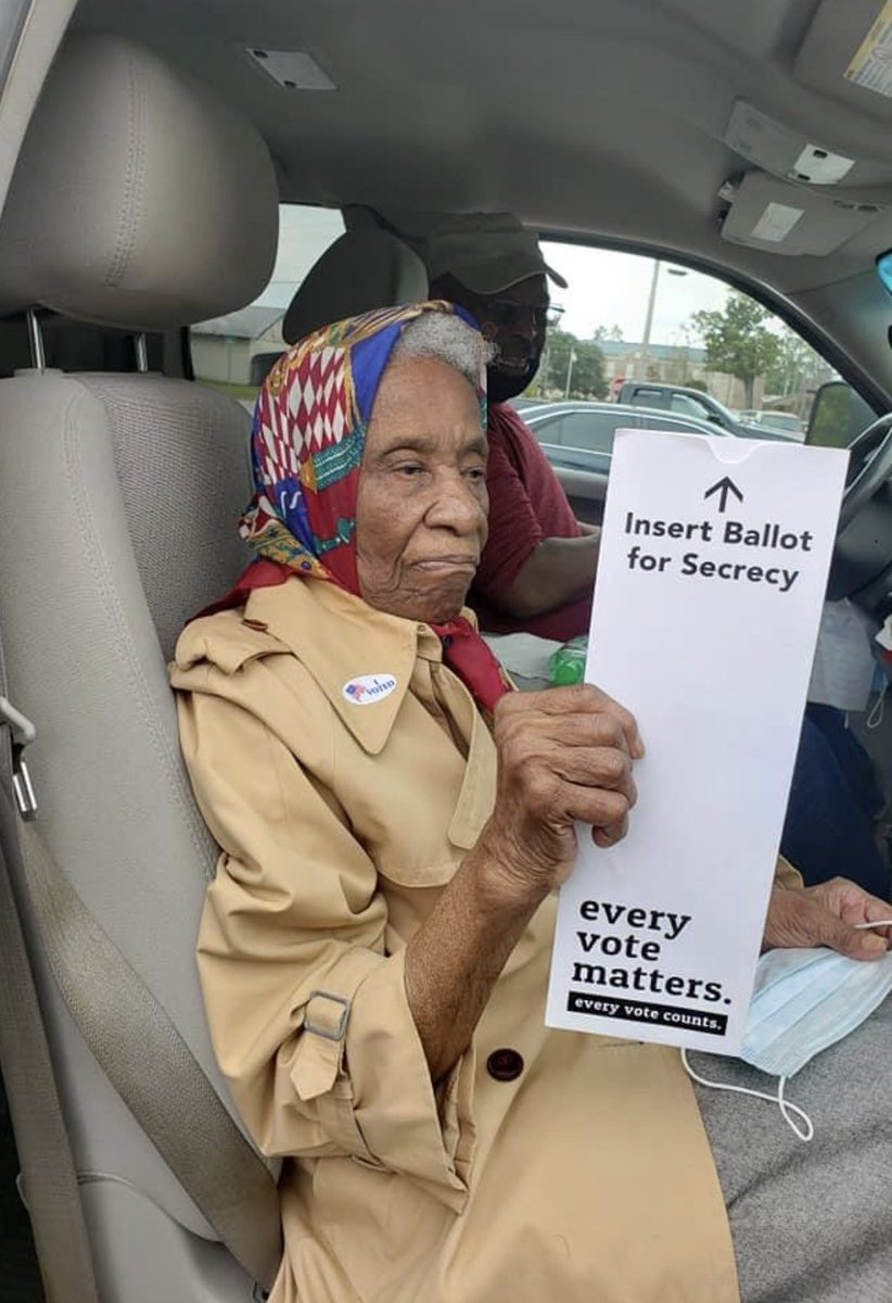 At 102 years old, my great aunt, born the year of our last great #pandemic, made her way to the ballot box to cast her #vote. If she can do it, you can too!   #Vote #VoteEarly #Election2020 https://t.co/3nFCB3c4Ei