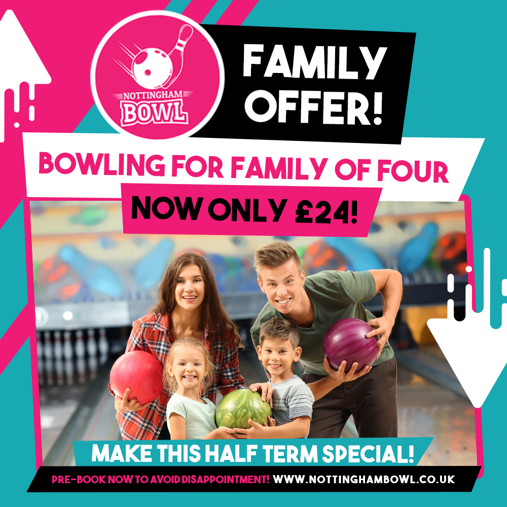 FAMILY OFFER! Bowling for family of four now only £24! Available this half term🙌  We are fun. We are safe. We are spacious!  Book now via our website: https://t.co/OicghpTT9a  #NottinghamBowl #Nottingham #Bowling #TenPinBowling #FamilyOffer #Halfterm #FamilyTime #Family https://t.co/U5jOLUVK2X