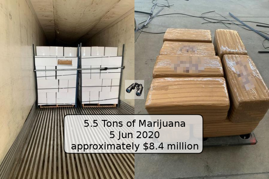 CBP Officers Find More Than 5.5 Tons of Marijuana Hidden in Shipment of Limes https://t.co/WQ4EOLldqU 5 Jun 2020  #QUOTE ..  with a street value of approximately $8.4 million.  #CBP_enforcement #drug #smuggling  qt-cbp-media-005 #borderObserver https://t.co/nPUF16eoN0