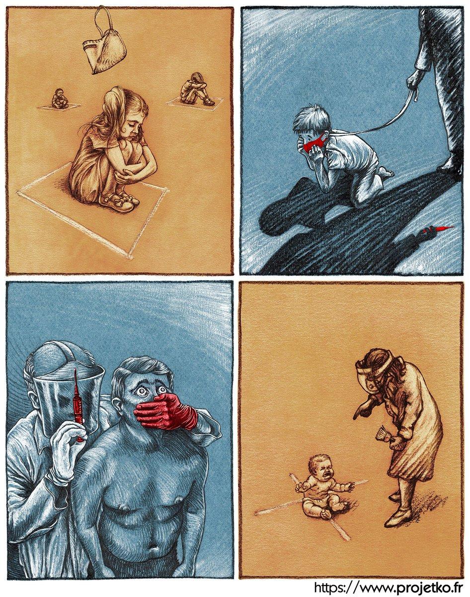 Mosaïque de 4 dessins récents, assemblés pour mettre en lumière la dictature sanitaire en cours. Sans aucun texte.  https://t.co/LO934Ufpr9 #ProjetKO #covid19 #coronavirus #confinement #masque #vaccin #DictatureSanitaire https://t.co/ttxOX25iTN