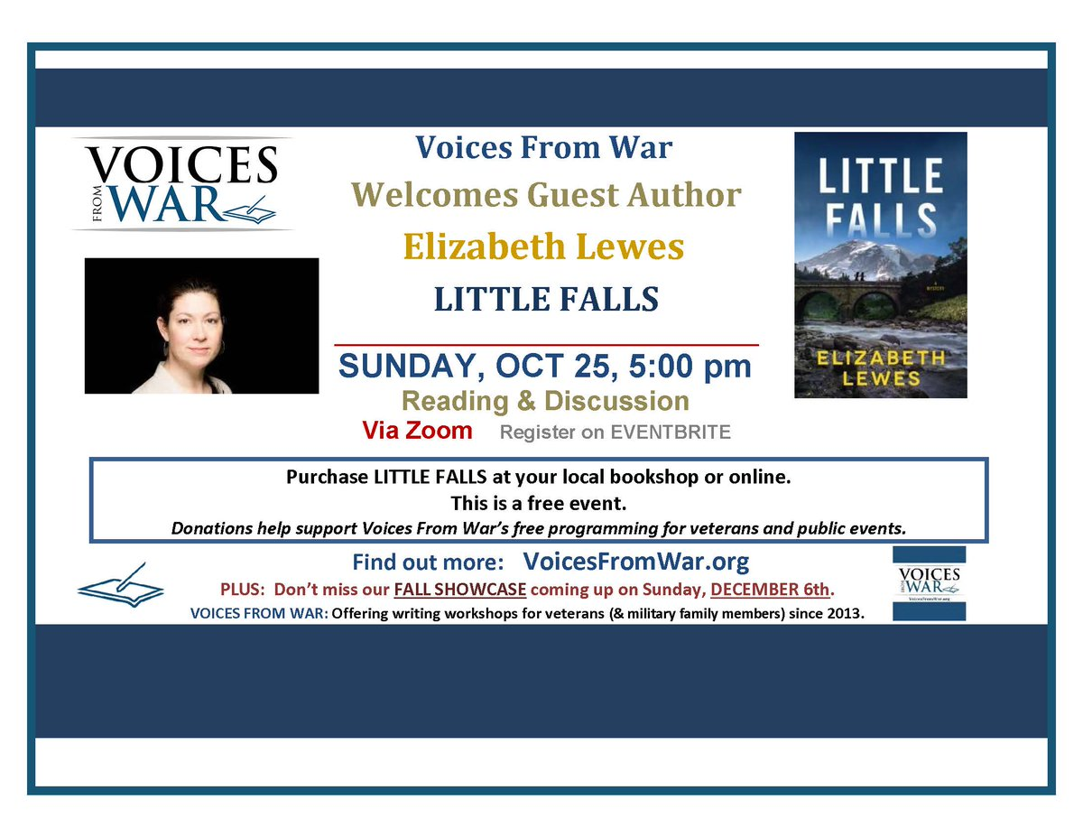 Upcoming Events - This Sunday! @voicesfromwar welcomes author Elizabeth Lewes - https://t.co/DAMQqkOBcs Join us for #reading & #discussion of her new mystery novel LITTLE FALLS. OCTOBER 25 at 5pm EST on Zoom.  #veterans #MoreVoices #writing https://t.co/dEW5e7OgxI