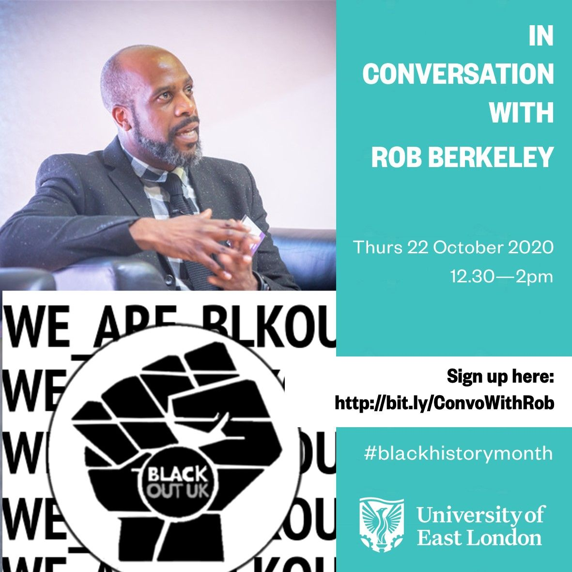 Join us tomorrow to hear from Dr Rob Berkeley, one of Britain's leading social reformers and founder of @BlkOutUK, who has  written for @guardian and @Independent on social justice and movement-building  📅 Thursday, 22 Oct, 12:30-14:00  Book now: https://t.co/fkVzKVqouD https://t.co/ac4WFoFMsf