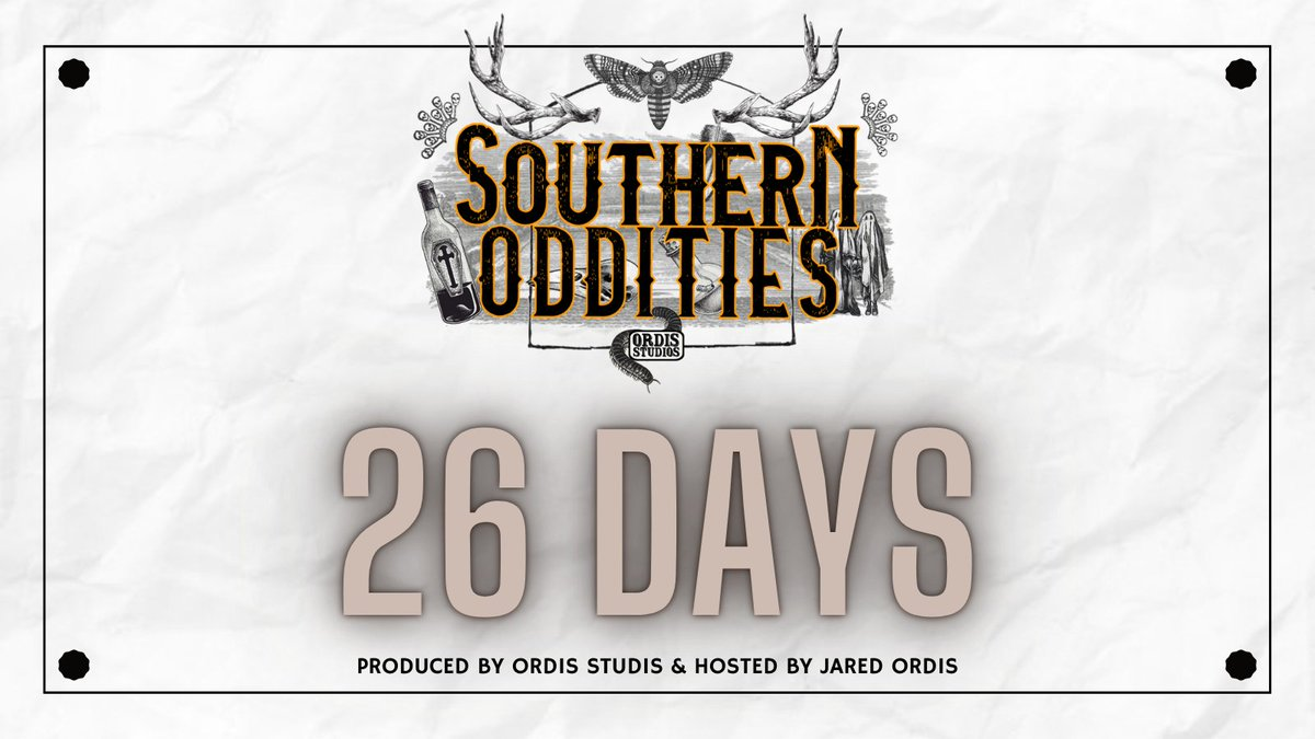 Only 26 Days left till the premiere of Southern Oddities! Be sure to subscribe on your favorite podcast listening app, so you don't miss an episode - #podcast #newpodcast  : Subscribe Here 👉 https://t.co/KTTrAAHFht : : : #podcast #podcasts #history #Halloween #wednesdaymorning https://t.co/rYF8MpOWHJ