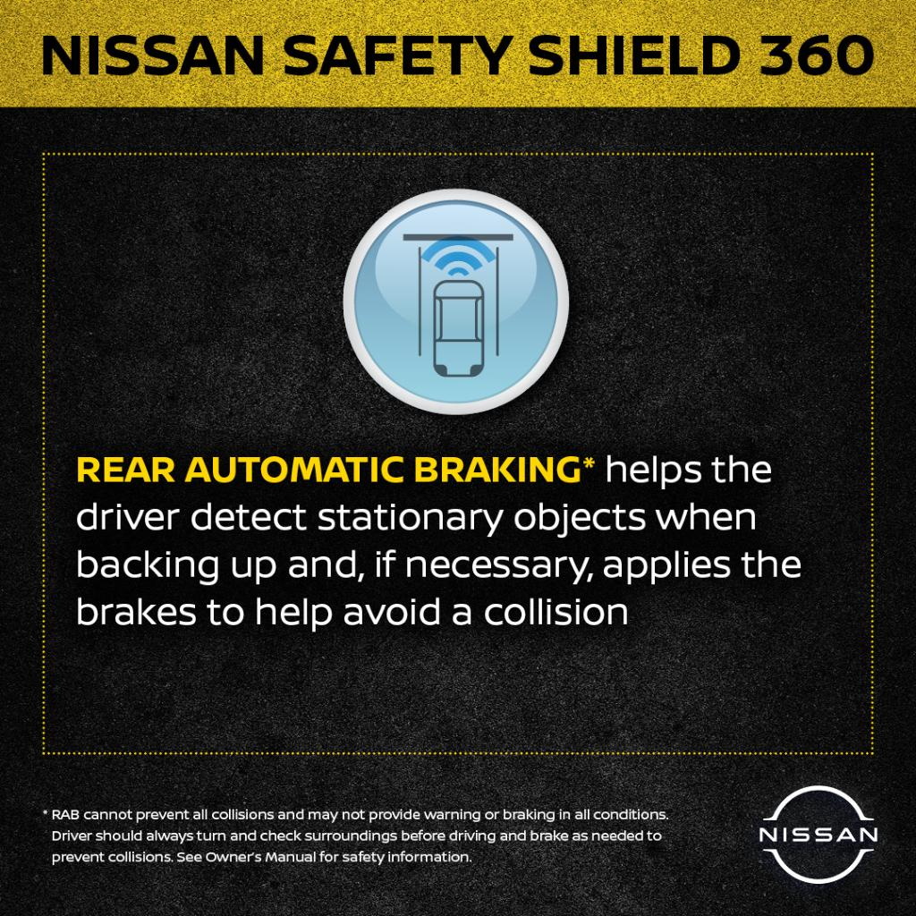 Rear automatic emergency braking + Rearview camera + Parking sensors = 78% decrease in back-up crashes via @IIHS.   Check out more about Safety Shield 360 and its availability on 10 Nissan models by 2021 at https://t.co/IaMOIUT2Yc #NationalTeenDrivingSafetyWeek https://t.co/ZS9zToBsit