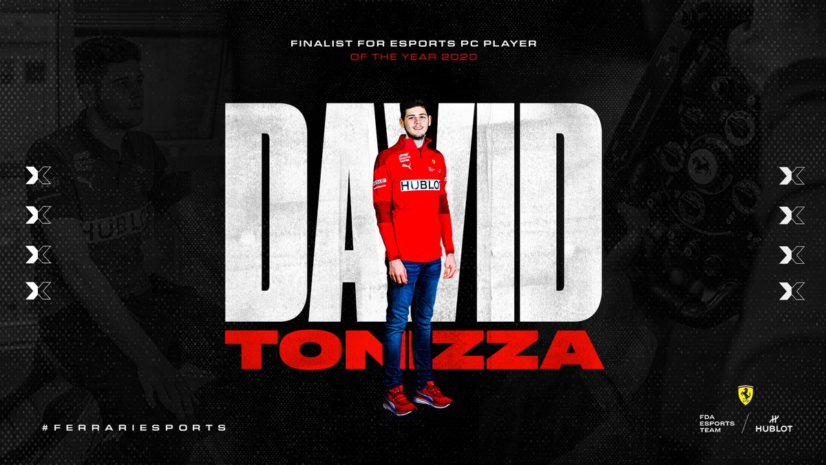 📣 𝗘𝗦𝗣𝗢𝗥𝗧𝗦 𝗔𝗪𝗔𝗥𝗗𝗦 𝟮𝟬𝟮𝟬 𝗙𝗜𝗡𝗔𝗟𝗜𝗦𝗧   #Tifosi, make sure you're voting for @David_Tonizza in this year's @esportsawards PC Player of the Year award 🏆  Link 👉 https://t.co/ckELH3q4DP   🚨 Voting closes on the 8th of November   #FerrariEsports https://t.co/MYJfpkhdsw