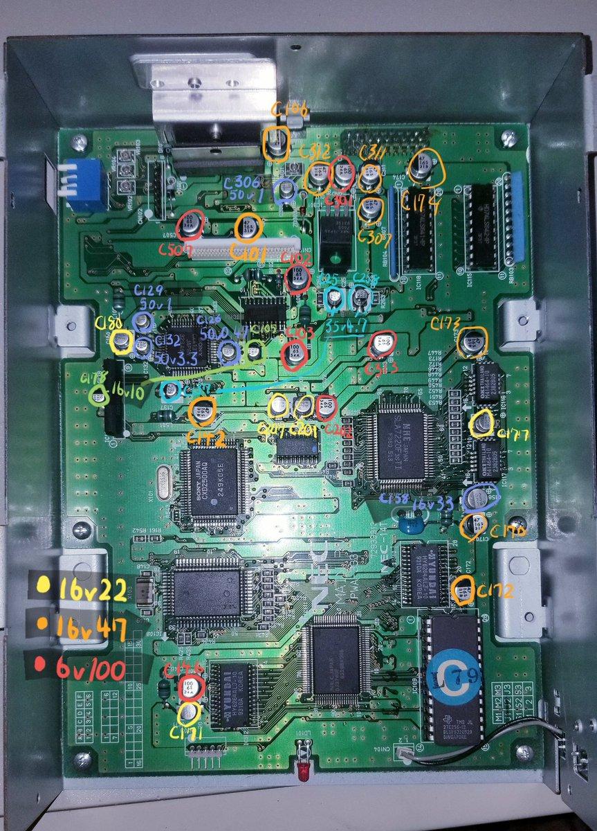 初代PC-9821 CDR-52(PI)無事 コンデンサ交換 修理完了! 1x倍速でも 代替品が無いから 壊れると困る  コンデンサリスト すごく助かりますわ 感謝!! 😄 https://t.co/a65WbX2kST