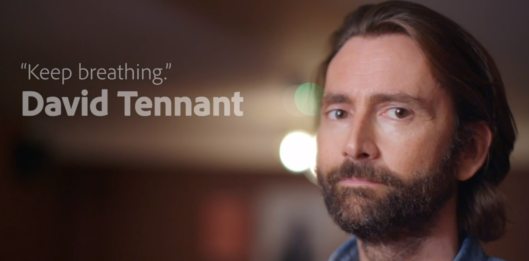 David Tennant from his recorded film at the Adobe MAX conference virtual event