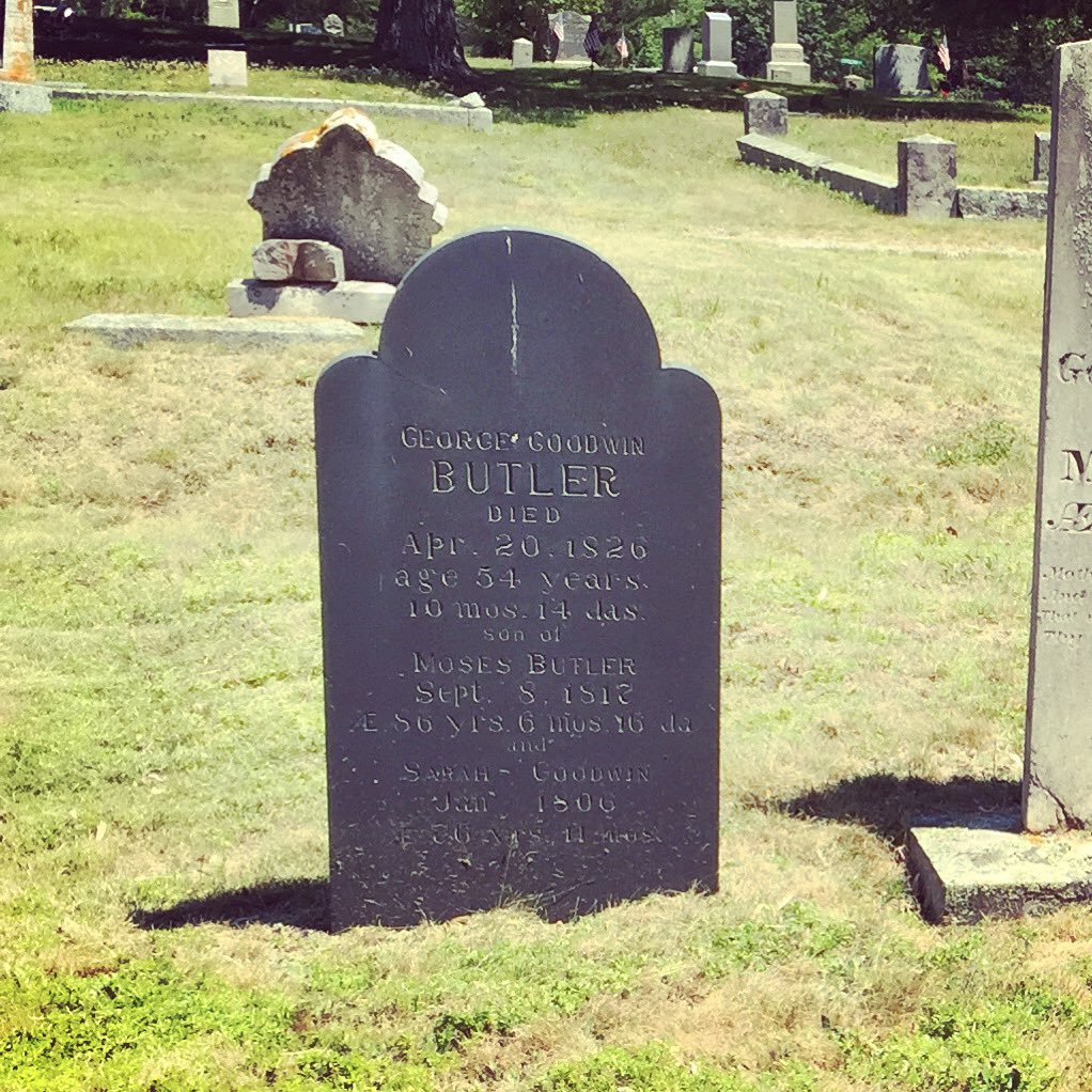 The resting place of George Goodwin Butler. @ Bayview Cemetery Franklin, Maine. I think we might have to take a trip over there! 🖤 ⚰️ #theboxofoddities #podcast #true #weird #podernfamily #maine #cemetery #ghost https://t.co/70LQYw2ej9