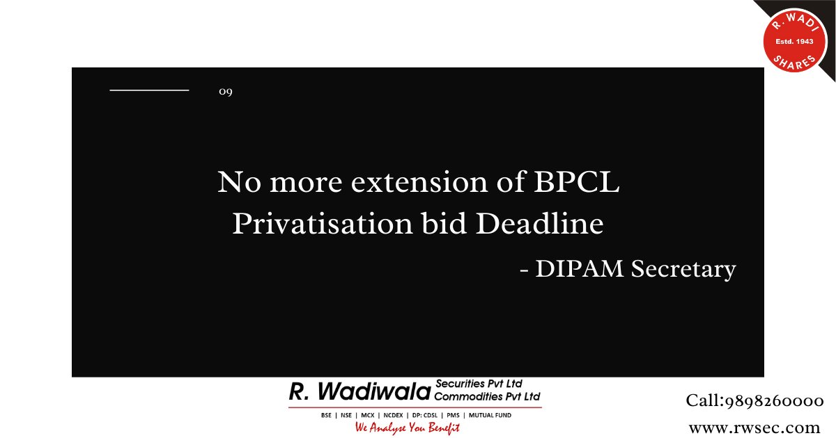 BPCL privatisation bid deadline to not be extended for the fifth time: DIPAM Secretary..  Visit our website for more information https://t.co/ndGX7kFkeq  #financial #business #portfoliomanagementservice #stockmarket #onlinetrading #topmutualfunds #mutualfundsinvestment #trading https://t.co/14aNZHxc2D