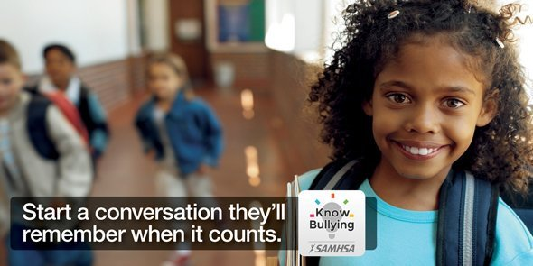 #BullyingPreventionMonth: Research shows that parents and caregivers who spend at least ⏰ 15 minutes a day talking with their children or teens help build strong relationships, and prevent bullying. Get started with SAMHSA's KnowBullying app 📱 https://t.co/U3MVajD51X https://t.co/4TjU6MLKjC