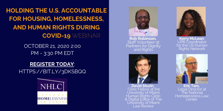 #Webinar at 3:30 PM EST TODAY 10/21: Hear from a panel of advocates on how they plan to push the US to be held accountable for #Housing, #Homelessness, and #HumanRights. Learn how to push your community to take action and register here: bit.ly/2ISu68Q #EndHomelessness