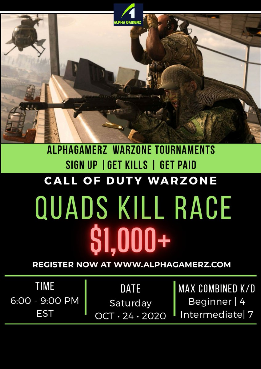Our trios tourney was rough last night with the night mode.  Due to that we have decided to go with a QUADS tourney this weekend. Hope to see you all there. Let's get it!  #warzone #codwarzone #warzonetournament #gamingtournament #instagamer #warzonetourney #esports https://t.co/cohWpDjv6w