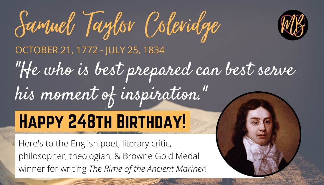 #HappyBirthday #SamuelTaylorColeridge #RIP #OtterySaintMary #London #England @JesusCollegeCam @Cambridge_Uni #BrowneGoldMedal #BePrepared Thank you for #writing #TheRimeOfTheAncientMariner! https://t.co/TeSxLXRBVg
